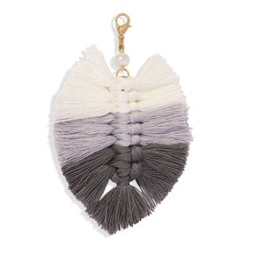 3/$20 New Grey & White Macrame Keychain Cha